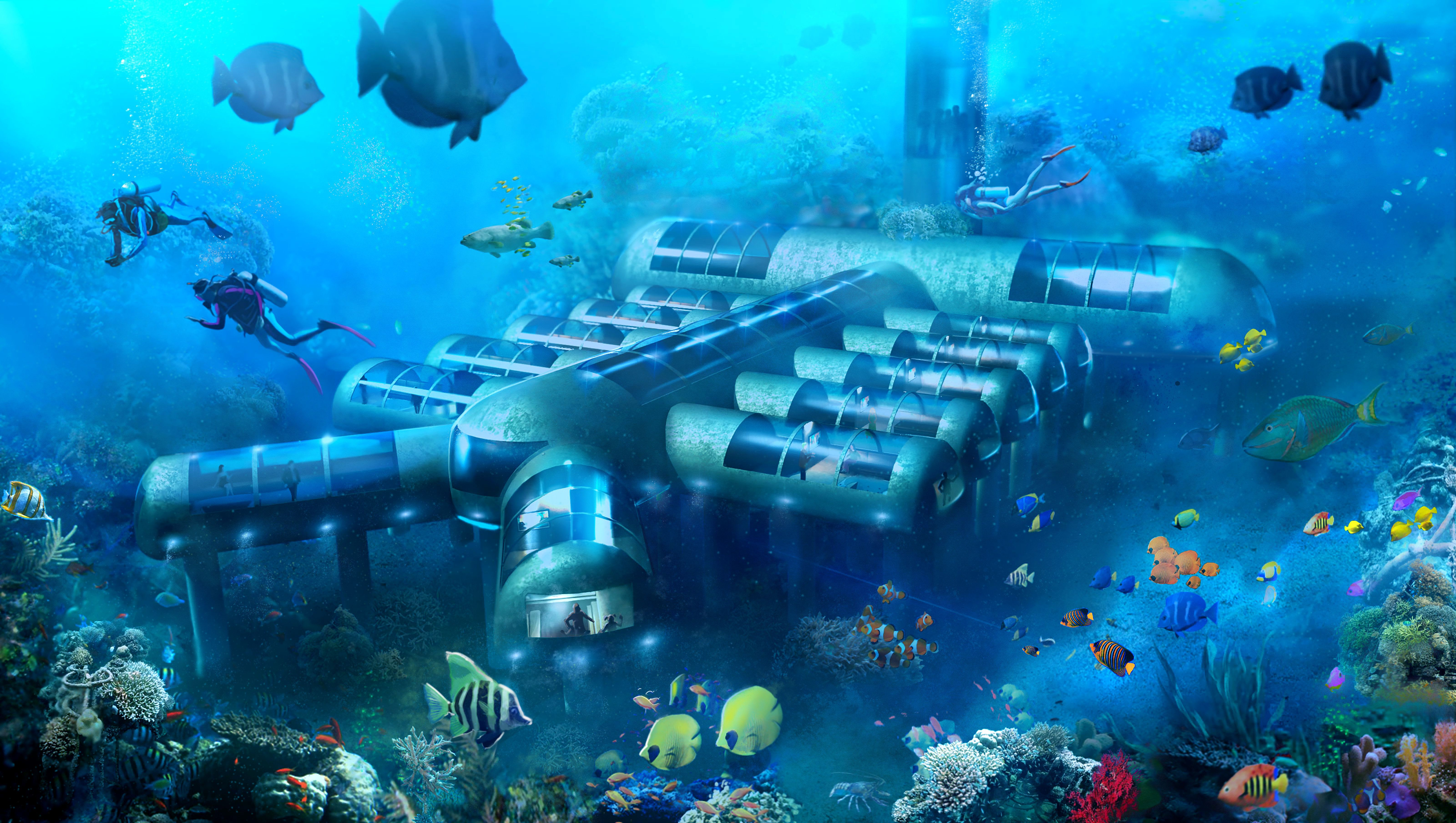 An illustration of what the Planet Ocean Underwater Hotel may look like.