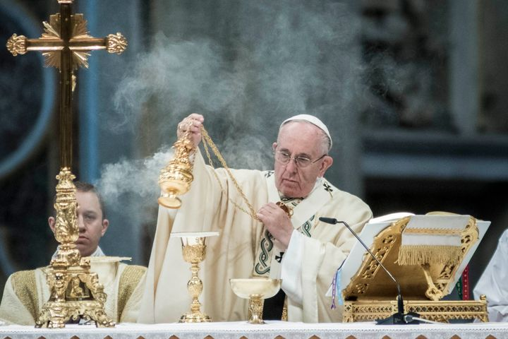 Pope Francis celebrates a Mass for the Feast of the Chair of Peter and the Holy Year of Mercy of the Roman Curia in St. Peter