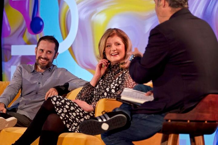 Evan Williams, Arianna Huffington and Dave Pell on stage at the 2016 Near Future Summit.