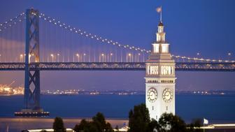 'Bridge and clock tower in San Francisco, California'