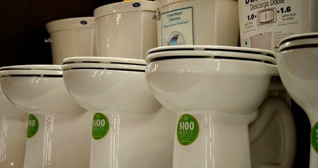 A $100 rebate provides an incentive to buy a low flow toilet. Upgrading fixtures and appliances to be more water efficient ca