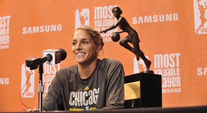 Elena Delle Donne at the WNBA MVP press conference in September 2015.