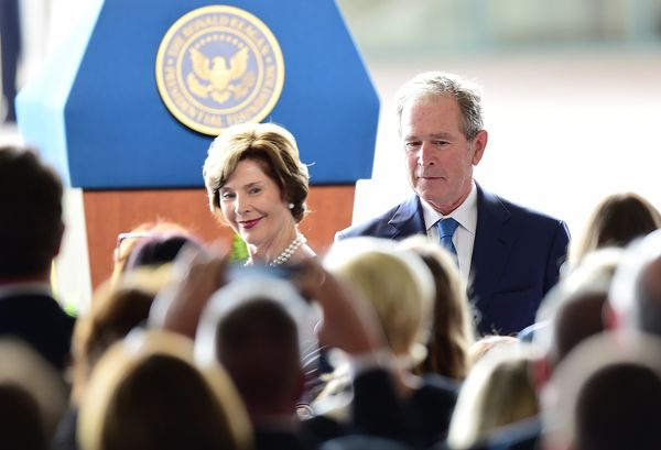 Former first lady Laura Bushand President George W. Bush arrive for the funeral service of former first lady Nancy Reagan on