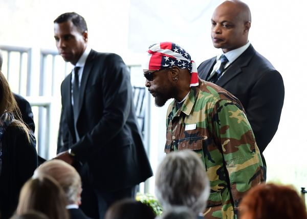 Actor Mr. T arrives for the funeral service of former first lady Nancy Reagan on March 11, 2016, at the Ronald Reagan Preside