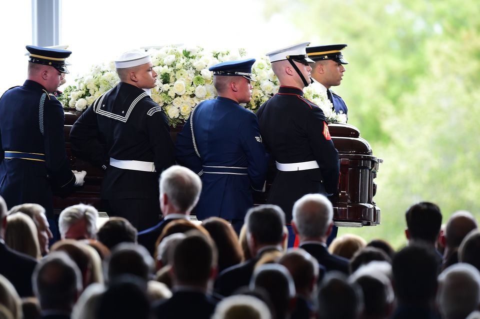 The casket of former first lady Nancy Reagan is carried to her funeral service on March 11, 2016, at the Ronald Reagan Presid