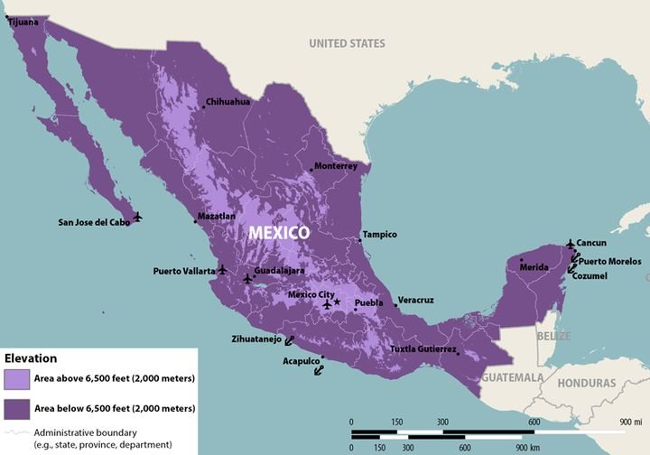 Mexico's Zika virus travel warning has been updated to include zones of low and high risk.