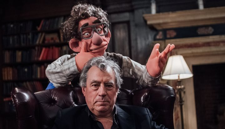 Terry Jones with a puppet of 20th century economist Hyman Minsky.