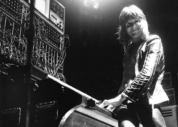 Keith Emerson from Emerson, Lake & Palmer performs live on stage at Ahoy, Rotterdam on May 25 1974. Emerson, a pioneer of