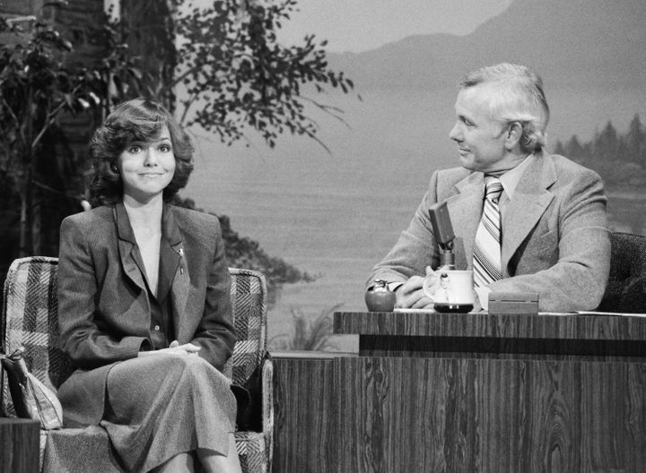 """Actress Sally Field and host Johnny Carson on """"The Tonight Show,"""" Feb. 20, 1979."""
