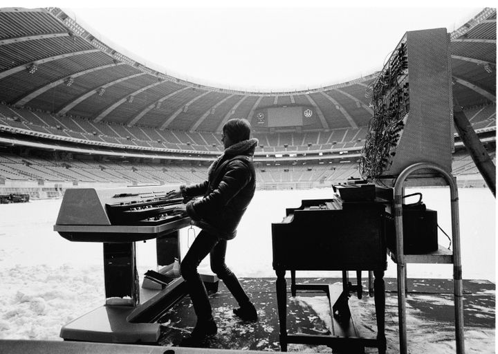 Keith Emerson during rehearsals for ELP's 'Works' tour at the Olympic Stadium in Montreal, Canada, February 1977.