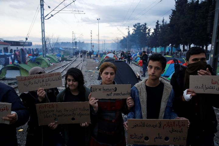 The plan has raised concerns across Europe. Here, refugees stage a protest at the Idomeni camp on Friday.