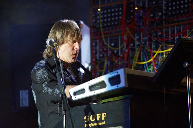 Keith Emerson of Emerson Lake and Palmer performs on stage during day two of High Voltage Festival at...