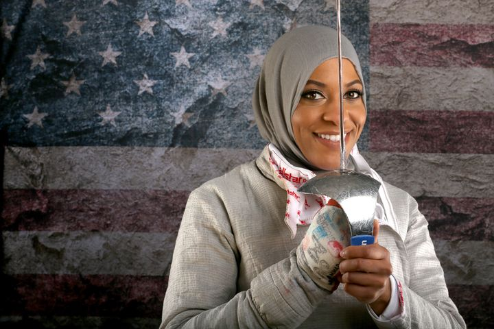 Ibtihaj Muhammad poses for a portrait at the 2016 Team USA Media Summit at the Beverly Hilton Hotel on March 9, 2016, in Beve
