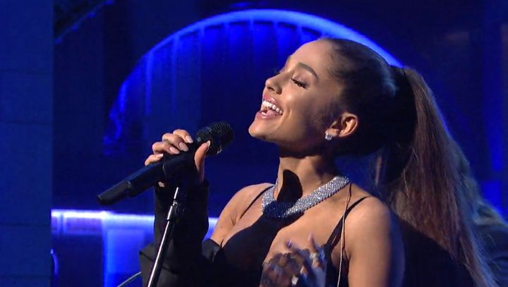 """Ariana Grande performs """"Dangerous Woman"""" on """"Saturday Night Live,"""" March 12, 2016."""