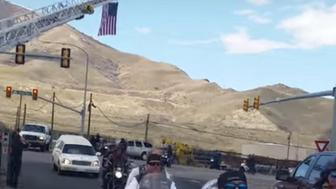 As many as a thousand bikers accompanied the little boy's family as they made their way to the cemetery on Saturday.