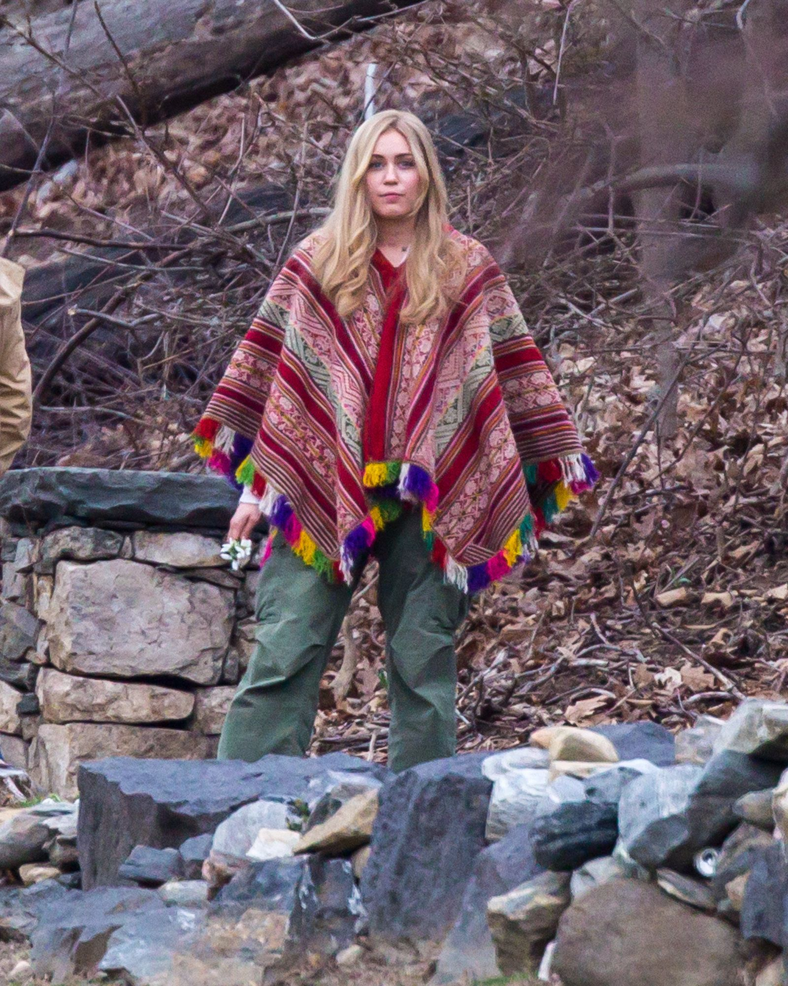 Miley Cyrus in long wig and hippie outfit seen filming Woody Allen's Amazon Project In Upstate New York.<P>Pictured: Miley Cyrus<B>Ref: SPL1243128  110316  </B><BR/>Picture by: Allan Bregg / Splash News<BR/></P><P><B>Splash News and Pictures</B><BR/>Los Angeles:310-821-2666<BR/>New York:212-619-2666<BR/>London:870-934-2666<BR/>photodesk@splashnews.com<BR/></P>