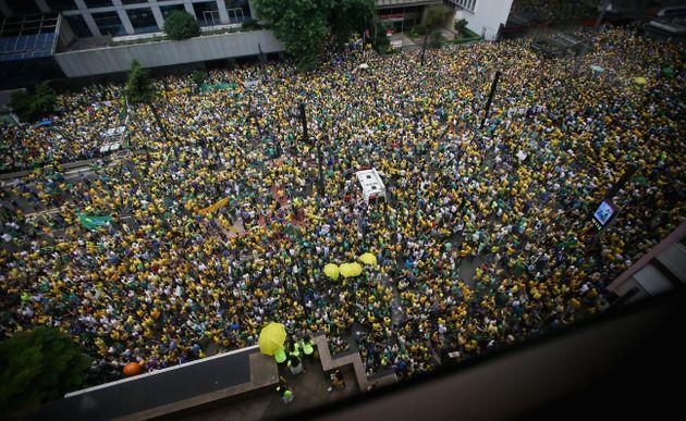 SAO PAULO, BRAZIL - MARCH 13: Anti-government protestors jam Avenida Paulista during a demonstration...