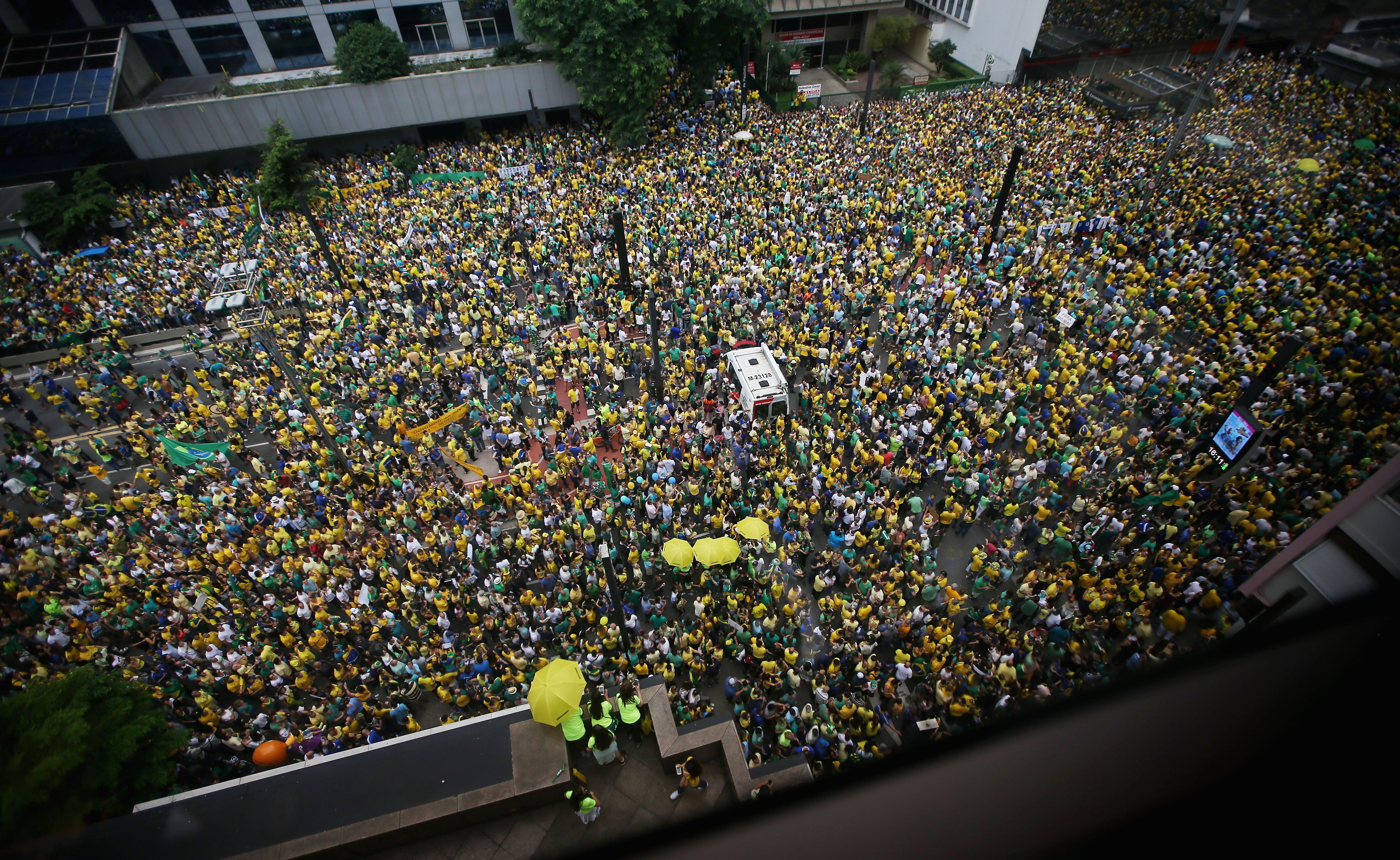 SAO PAULO, BRAZIL - MARCH 13: Anti-government protestors jam Avenida Paulista during a demonstration calling for the removal