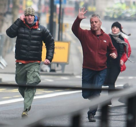 Matt LeBlanc in action yesterday, unaware of the brewing