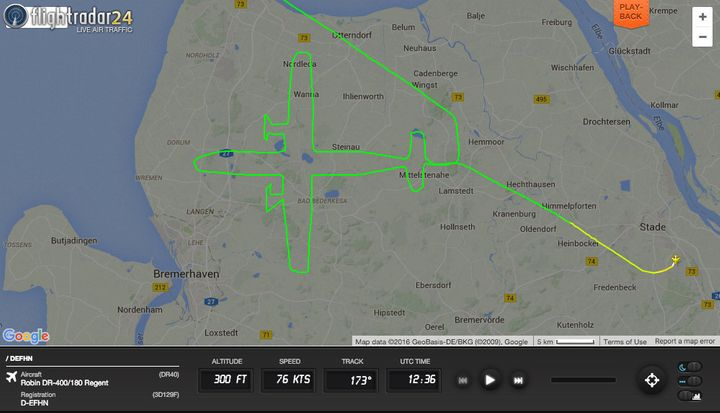 "The pilot ""drew"" the image after taking off from a small airport near Hamburg, Germany."