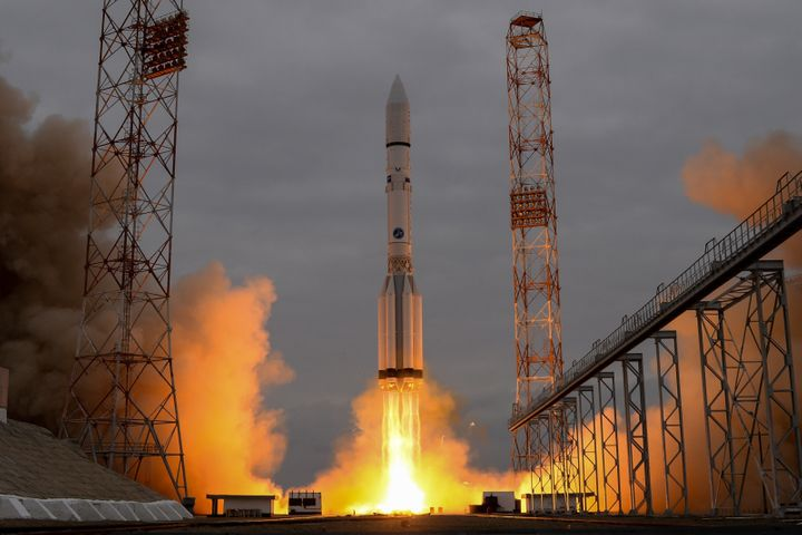 A Russian Proton-M rocket carrying the ExoMars 2016 spacecraft blasts off from the launch pad at the Russian-leased Baikonur