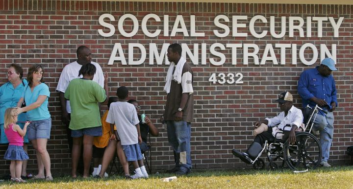 Social Security recipients displaced by Hurricane Katrina lined up for hours at one of the Baton Rouge, Louisiana, offices in