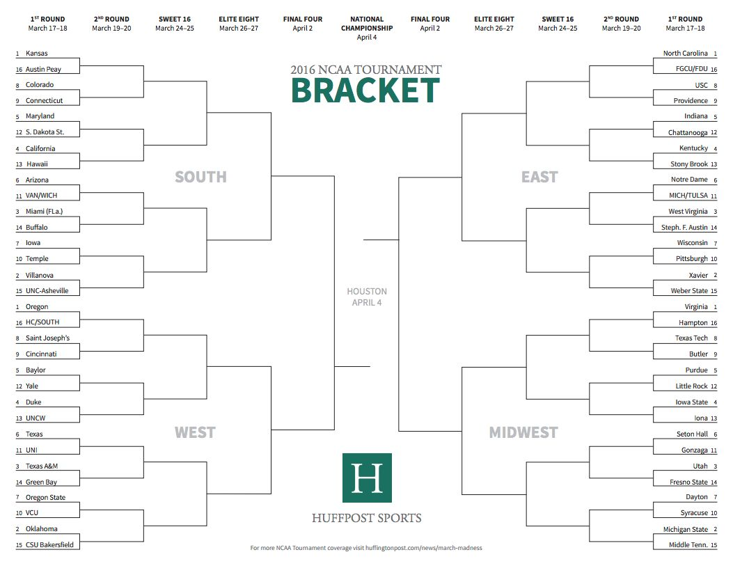 image relating to Ncaa Bracket Printable Blank identify Right here Is Your 2016 Printable March Insanity Bracket HuffPost