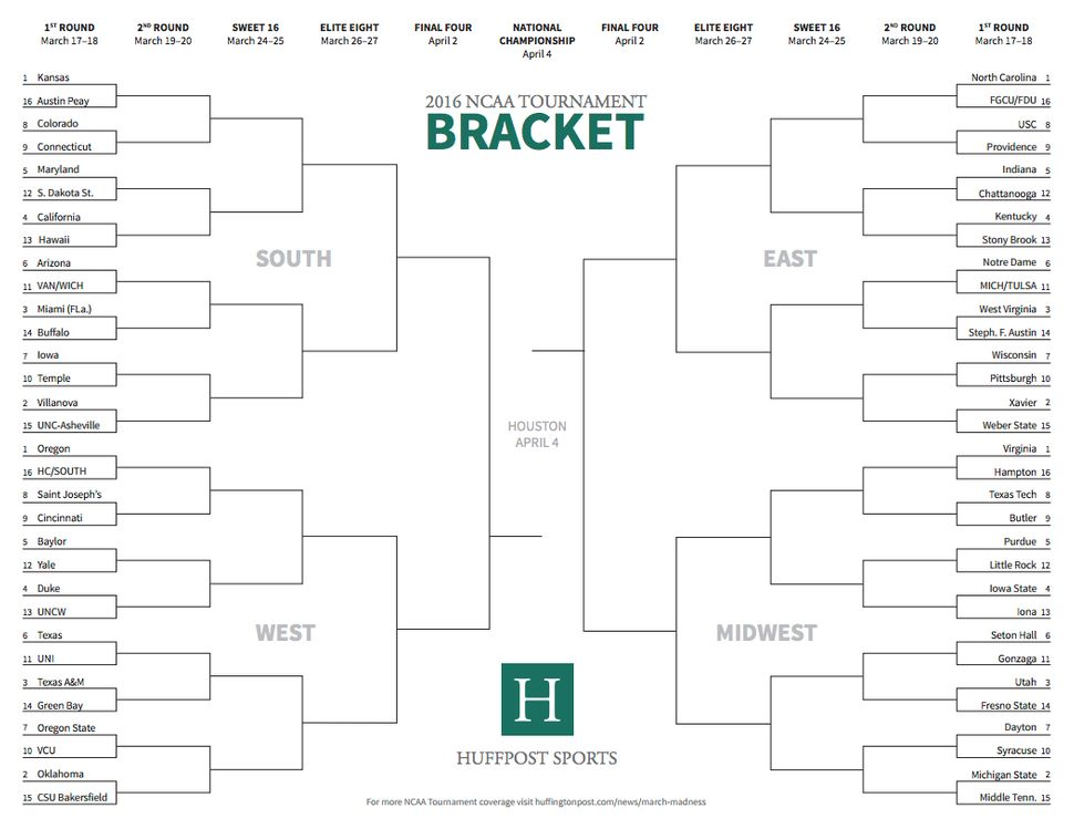 printable march madness bracket - photo #25