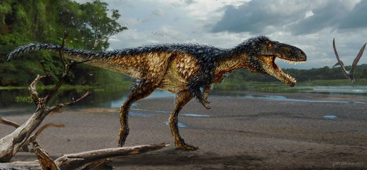 Life reconstruction of the new tyrannosaur Timurlengia euotica in its environment 90 million years ago. The fossilized remain