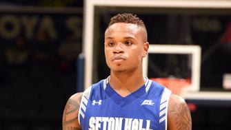 WASHINGTON, DC - FEBRUARY 17:  Derrick Gordon #32 of the Seton Hall Pirates looks on during a college basketball game against the Georgetown Hoyas at the Verizon Center on February 17, 2016 in Washington, DC.  The Pirates won 88-75.  (Photo by Mitchell Layton/Getty Images)