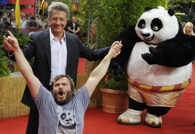 Dustin Hoffman with 'Kung Fu Panda 3' co-star Jack Black, and