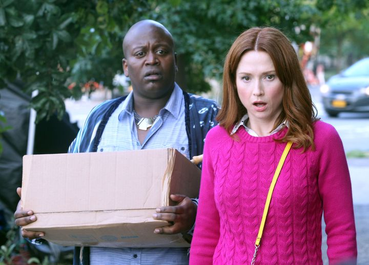 Titus Burgess, Ellie Kemper filming 'Unbreakable Kimmy Schmidt' on September 22, 2015 in New York City.