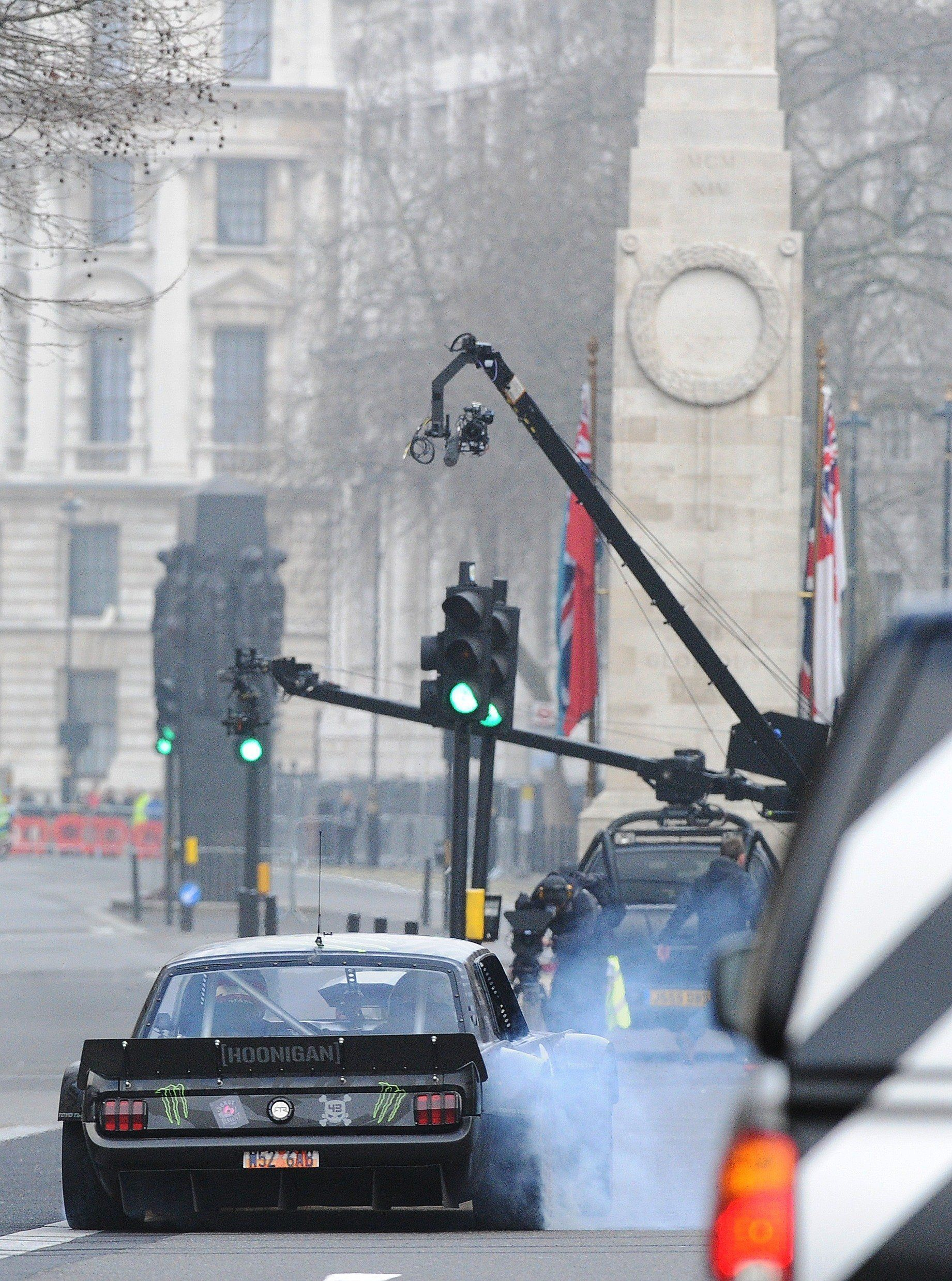New host Matt LeBlanc seen filming the newly revamped series of 'Top Gear' around The Cenotaph on