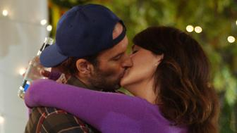 UNSPECIFIED - AUGUST 11:  Medium profile shot in gazebo of Scott Patterson as Luke embracing and kissing Lauren Graham as Lorelai.  (Photo by Patrick Ecclesine/Warner Bros./Getty Images)