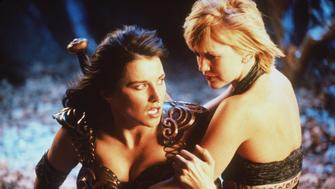 384678 05: Actress Lucy Lawless stars as Xena and Renee O''Connor stars as Gabrielle in Renaissance Pictures and Studio USA''s syndicated television series 'Xena Warrior Princess.' (Photo by Universal International Television)
