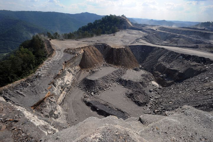 A mountaintop removal mining site at Kayford Mountain, W.Va., in 2008.