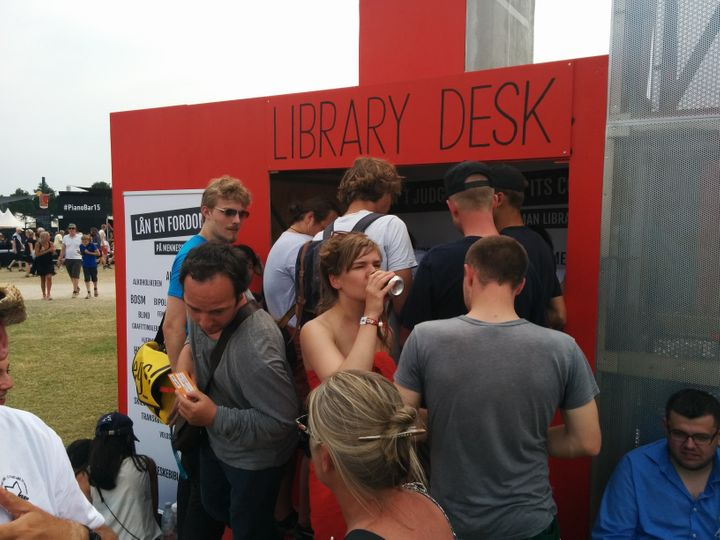 The Human Library checkout desk at the Roskilde Festival 2015.