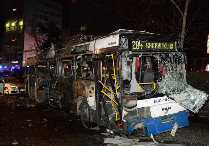 The wreckage of a bus is seen after an explosion in Ankara's central Kizilay district on March 13, 2016 in Ankara, Turkey.
