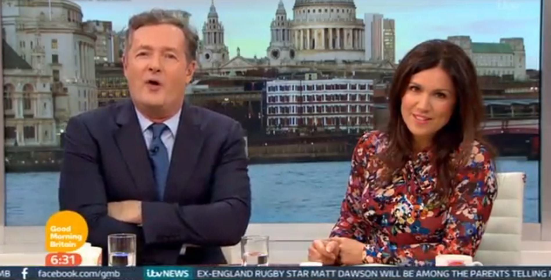 Susanna Reid, looking as gleeful as ever to be seated next to Piers