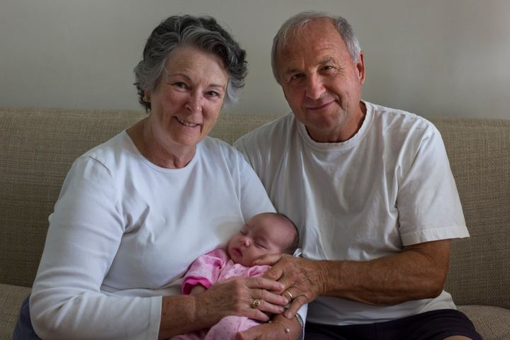 Working grandparents will be allowed to share Shared Parental Leave (picture posed by models).