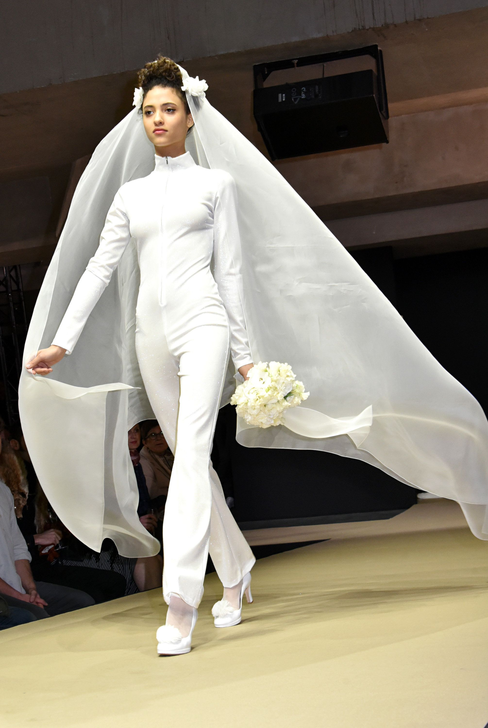 A model walks the runway during the Agnes B. show as part of Paris Fashion Week on March 8, 2016.