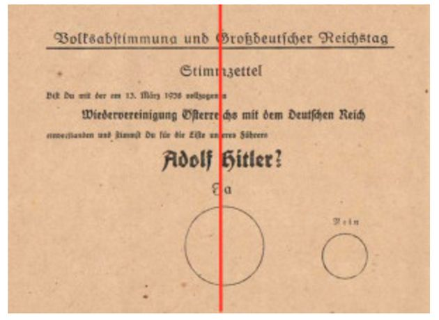 The 1938 referendum issued to Austrian citizens in German-occupied Austria one month after Nazi forces