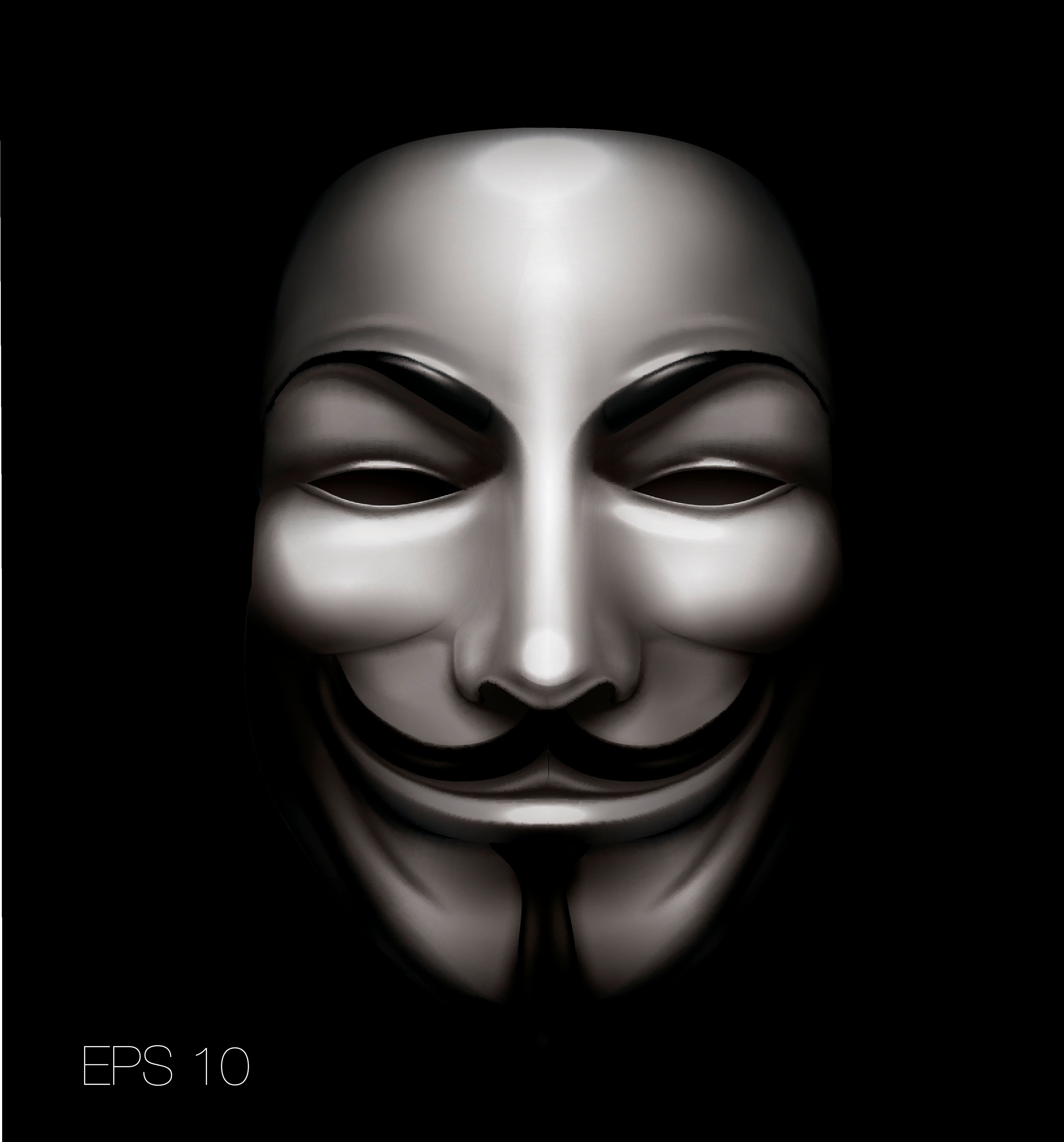 Vendetta or anonymous mask. High quality vector. Eyes are hollow - transparent.