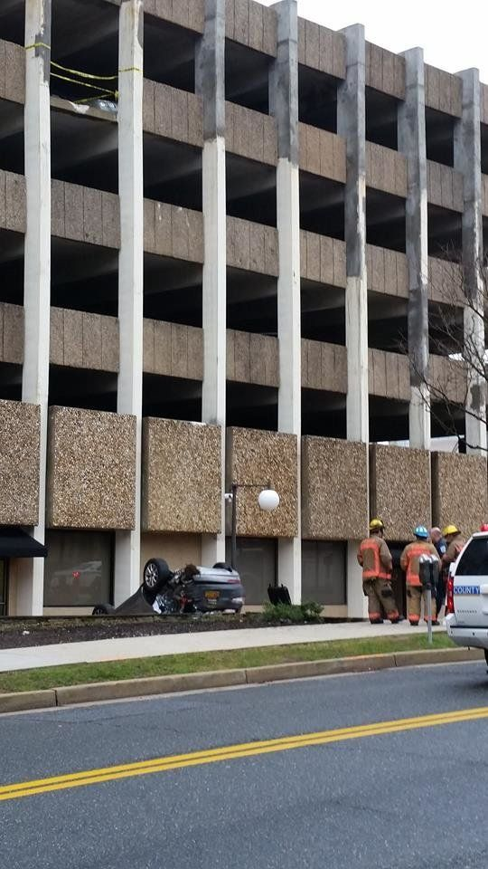 This image shows how far the vehicle fell from the parking garage.