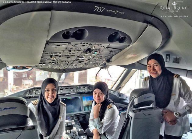 Royal Brunei Airlines All-Female Crew Land Boeing 787 Dreamliner In Saudi