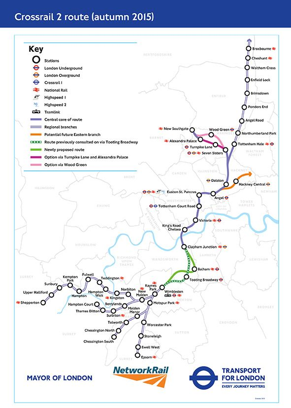 Crossrail 2 Map Shows Potential Route From Surrey To