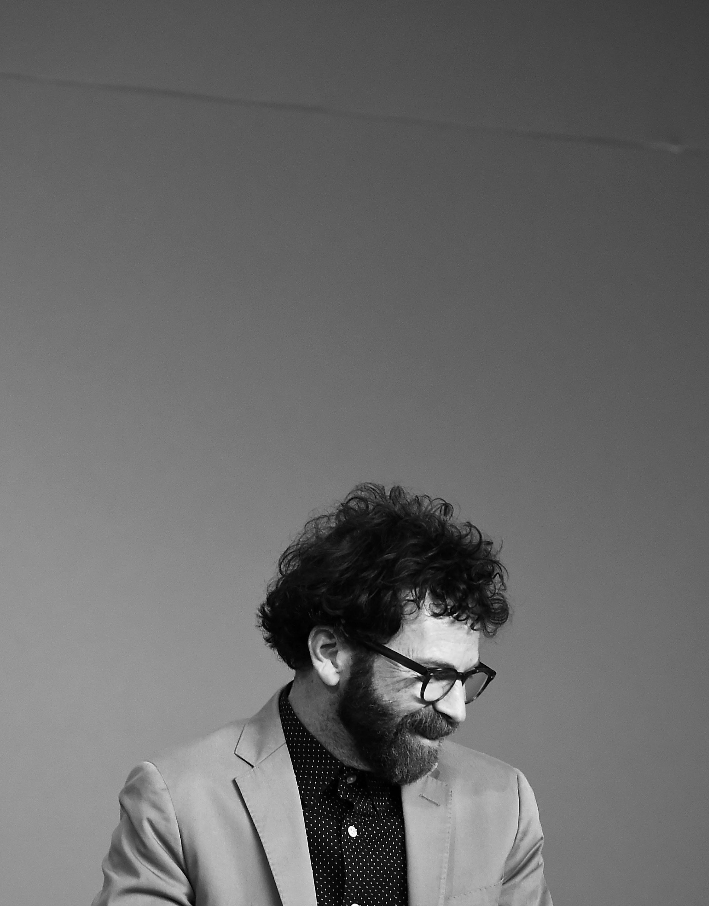 NEW YORK, NY - MARCH 07: (EDITORS NOTE: Image has been converted to black and white. Color version available) Director Charlie Kaufman attends Apple Store Soho Presents Meet The Filmmaker: Charlie Kaufman And Duke Johnson, 'Anomalisa' at Apple Store Soho on March 7, 2016 in New York City.  (Photo by Ilya S. Savenok/Getty Images)