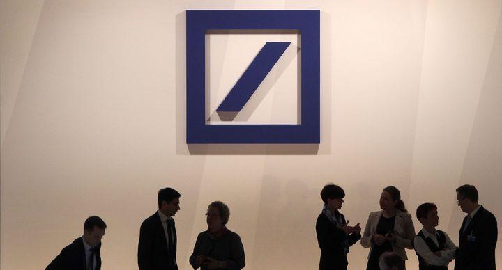 The logo of Deutsche Bank.