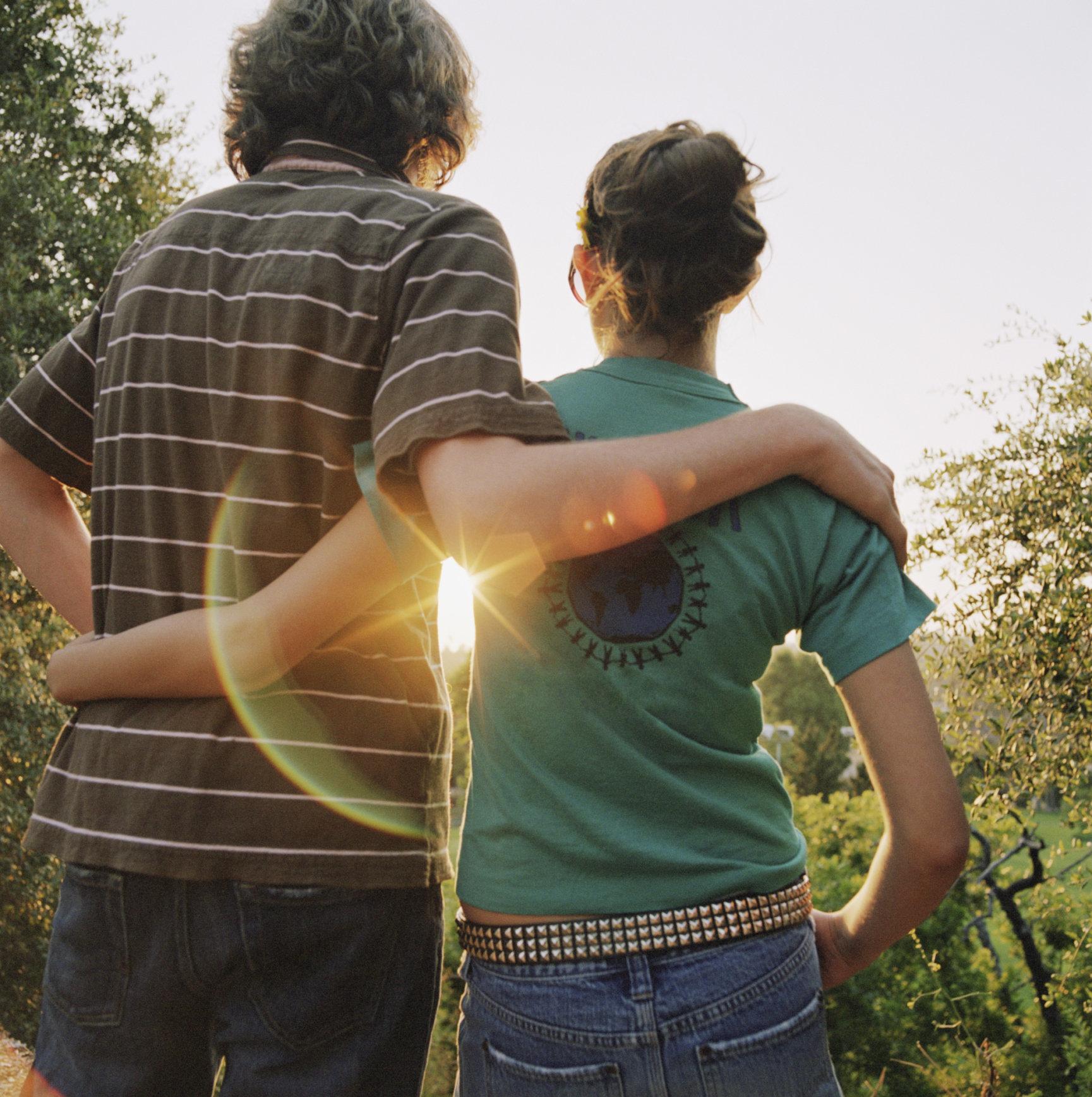 Affectionate teen couple