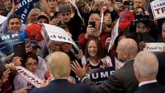 CLEVELAND, OH - MARCH 12: Republican presidential candidate Donald Trump greets guests gathered for a campaign event at the I-X Center March 12, 2016 in Cleveland, Ohio. (Photo by Jeff Swensen/Getty Images)